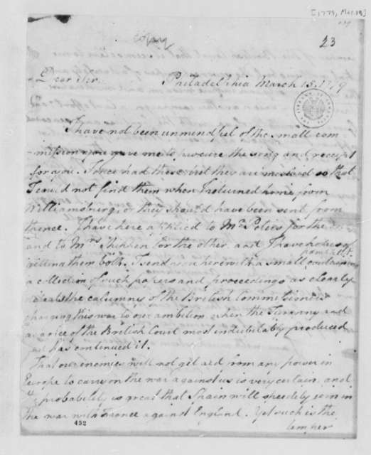 Richard Henry Lee to Thomas Jefferson, March 15, 1779, Politics in Great Britain and Europe