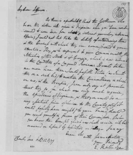 Rutledge Edward to Thomas Jefferson, February 12, 1779, Aid for Georgia