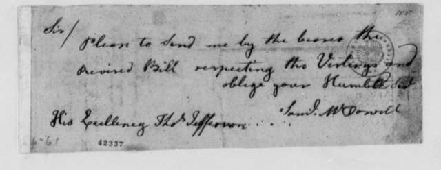 Samuel McDowell to Thomas Jefferson, 1779, Request for Revised Bill