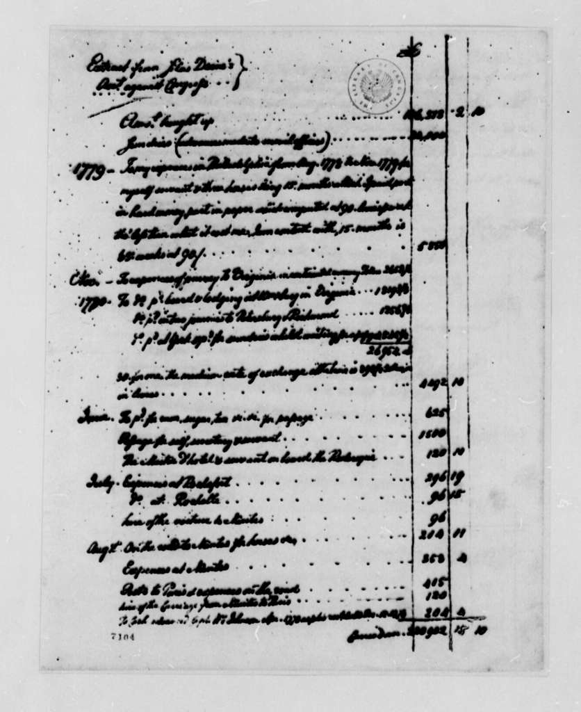 Silas Deane, 1779-1781, Extract from Expense Account with Congress