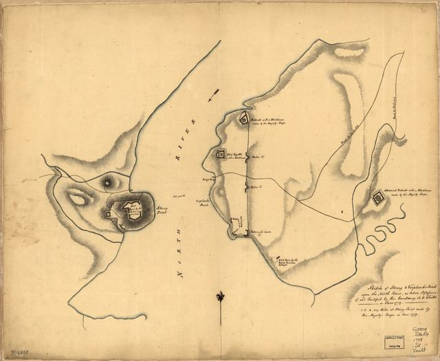 Sketch of Stoney & Verplank's Points upon the North River, as taken possession of, and fortified by His Excellency Sir H: Clinton in June 1779.