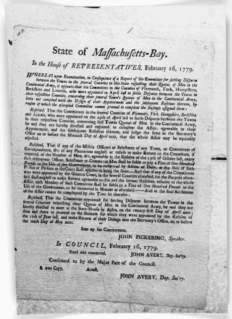 State of Massachusetts-Bay in the House of representatives, February 16, 1779. Whereas upon examination, in a consequence of a report of the Committees for settling disputes between the towns in the several counties in this State ... [Boston: Pr