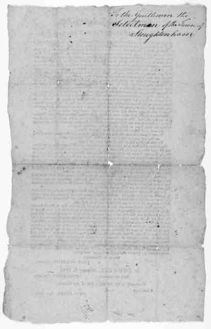 State of Massachusetts-Bay, in the House of representatives, February 4, 1779. On the petition of the officers in the brigades of Generals Nixon's, Patterson's (late Learned's and Glover's, in behalf of themselves and the soldiers under their co