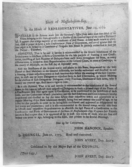 State of Massachusetts-Bay. In the House of representatives, June 15, 1779. Whereas by the returns made into the Secretary's office from more than two thirds of the towns belonging to this State ... [Boston: Printed by Thomas and John Fleet, 177