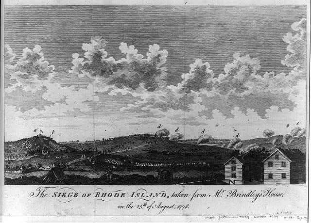 The siege of Rhode Island, taken from Mr. Brindley's house on the 25th of August, 1778