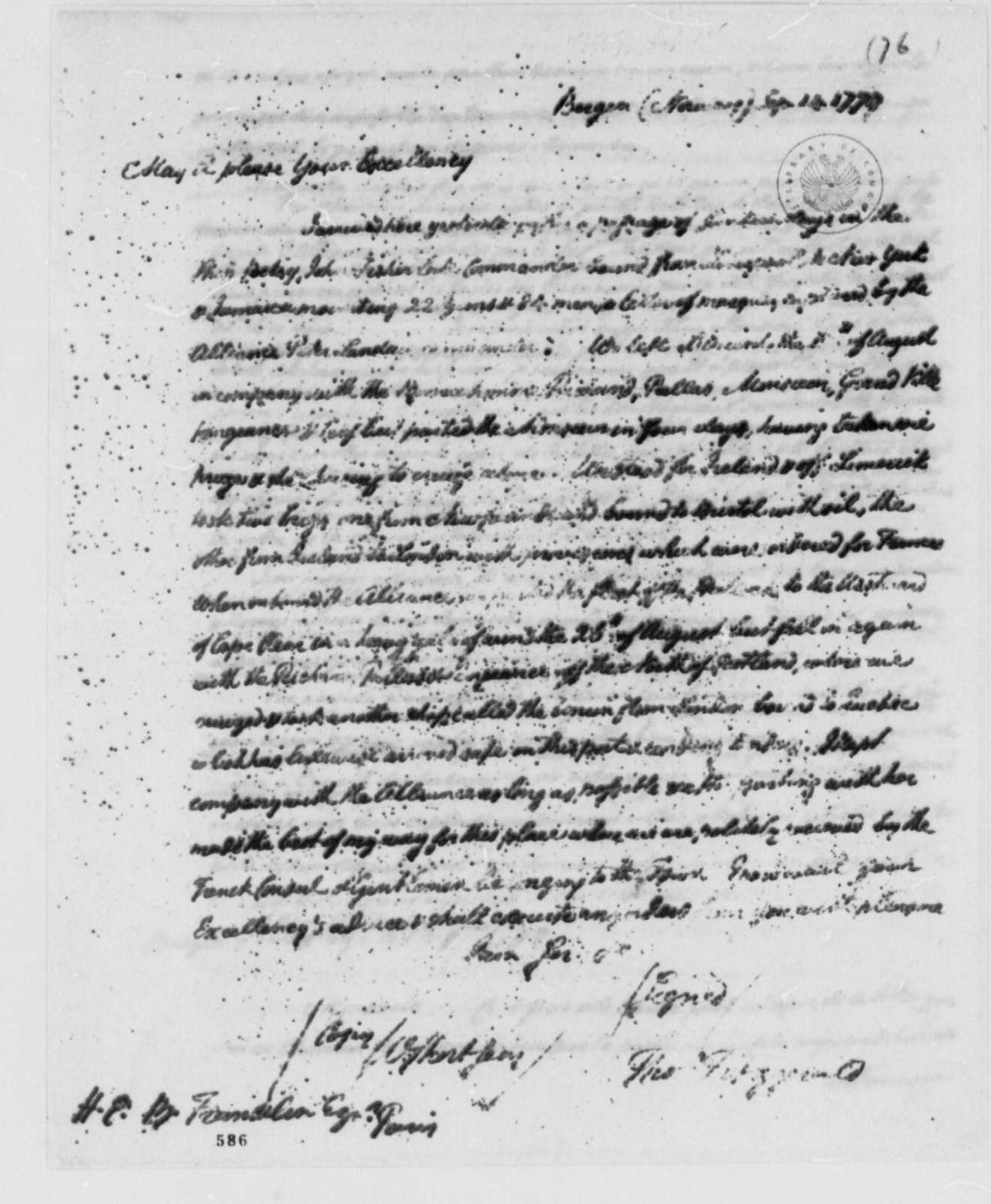 Thomas Fitzgerald to Benjamin Franklin, September 14, 1779