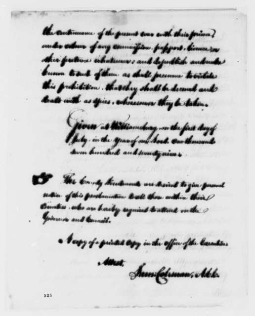 Thomas Jefferson, July 1, 1779, Proclamation Expelling British Subjects; with Copy