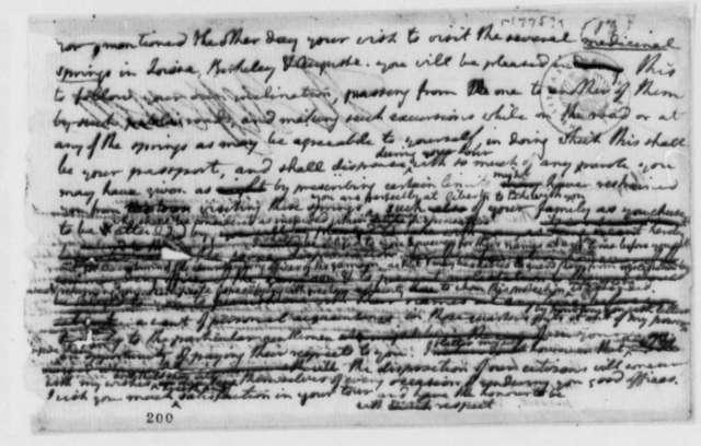 Thomas Jefferson to Friedrich Adolph, Baron von Riedesel, July 1779, Pass to Visit Medicinal Springs