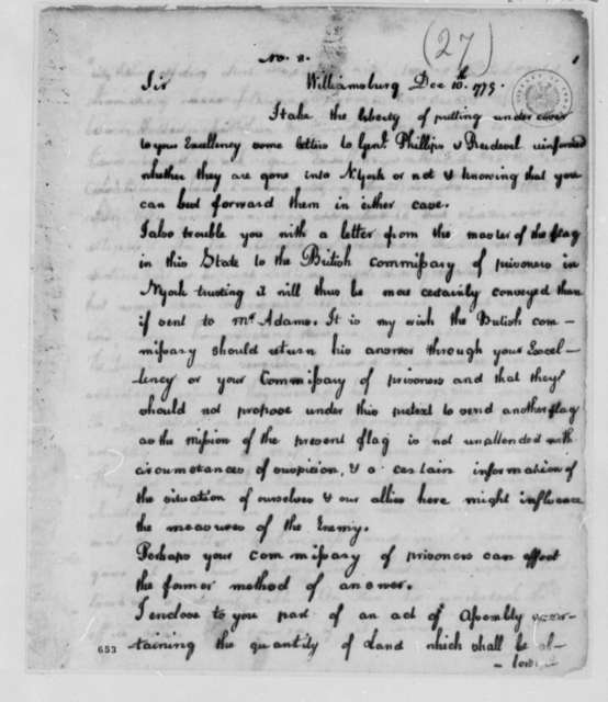 Thomas Jefferson to George Washington, December 10, 1779, with Act Granting Ohio River Lands to Virginia Officers and Soldiers