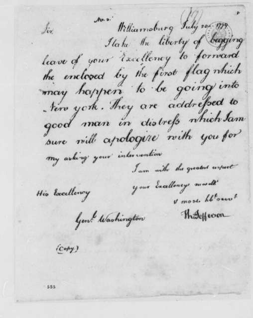 Thomas Jefferson to George Washington, July 23, 1779, Request to Send Letter to Mr. Battora in New York under Flag of Truce
