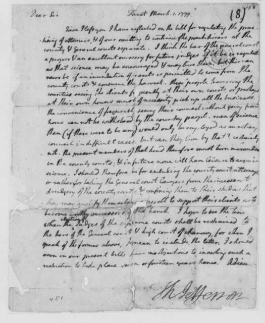Thomas Jefferson to George Wythe, March 1, 1779, Memorandum on Bill to Regulate Practicing Attorneys; Changes in Court System