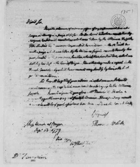 Thomas White to Benjamin Franklin, September 13, 1779
