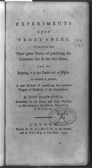 [Title page of Experiments upon vegetables]