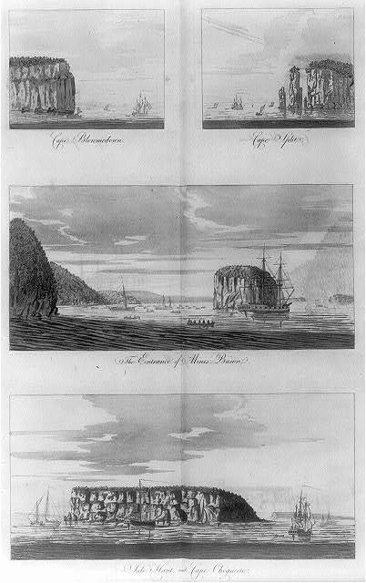 [Views from offshore of islands, cliffs, and capes in the Bay of Fundy]