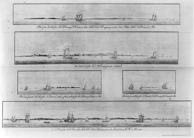 [Views from offshore of Sable Island, Nova Scotia, with ships passing near shore]