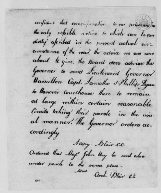 Virginia Council, September 29, 1779, Parole for Henry Hamilton, Philip Dejean, and William LaMothe, Prisoners of War