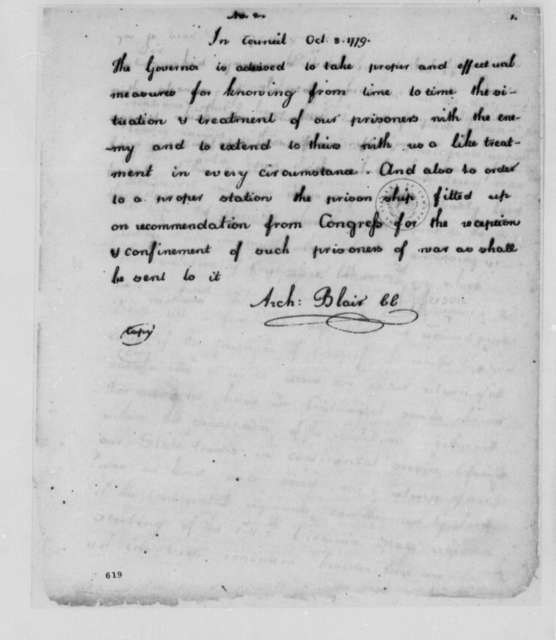 Virginia Council to Thomas Jefferson, October 8, 1779, Instructions on Prisoners of War