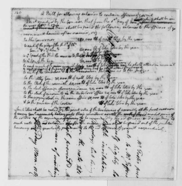 "Virginia General Assembly, May 1779, Bill on Salaries for Government Officials; Written on Fragment of Note from ""Mr. Foster"""