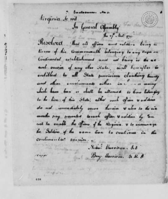 Virginia General Assembly, November 27, 1779, Resolution on Benefits for Virginia Troops in the Continental Army
