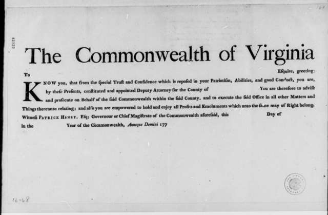 Virginia Laws and Statutes, 1779, Blank Forms for Civil, Military, and Judicial Appointments