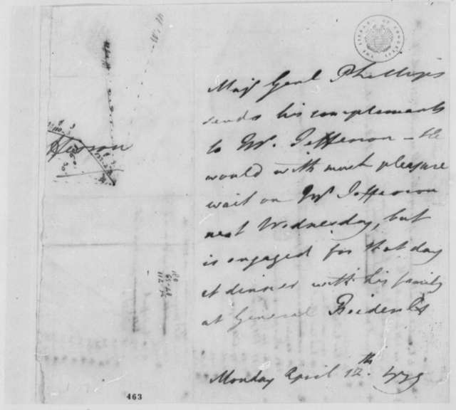William Phillips to Thomas Jefferson, April 12, 1779, Declines Jefferson's Invitation