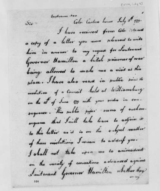 William Phillips to Thomas Jefferson, July 5, 1779, Henry Hamilton; Convention Prisoners of War