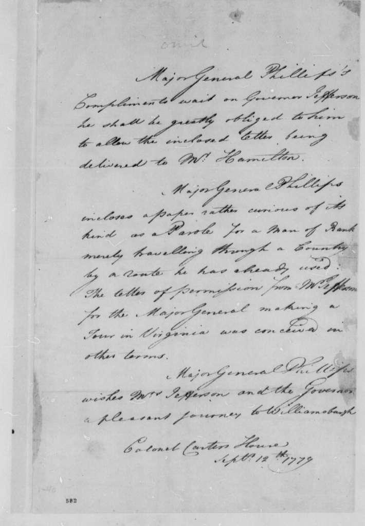 William Phillips to Thomas Jefferson, September 12, 1779