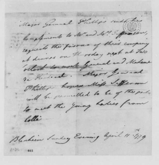 Williams Phillips to Thomas Jefferson, April 11, 1779, Invitation to Visit Friedrich Adolph, Baron von Riedesel