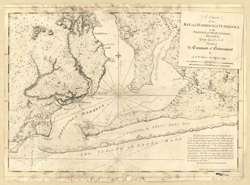 A chart of the bay and harbour of Pensacola in the Province of West Florida.