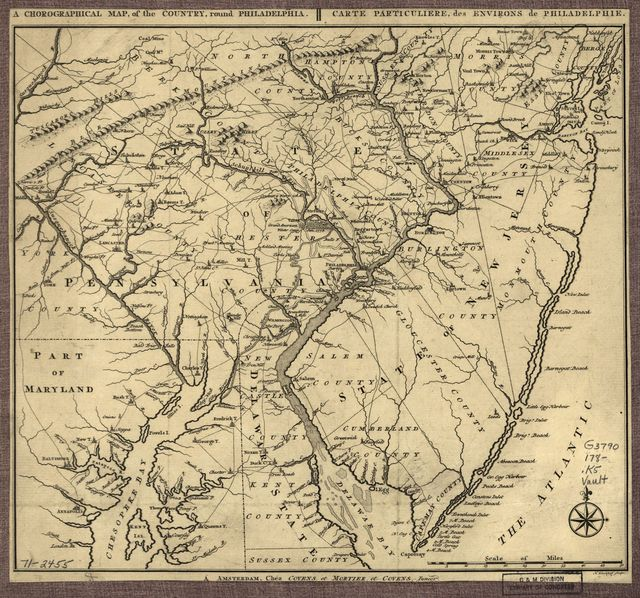 A chorographical map, of the country, round Philadelphia. Carte particuliere, des environs de Philadelphie.