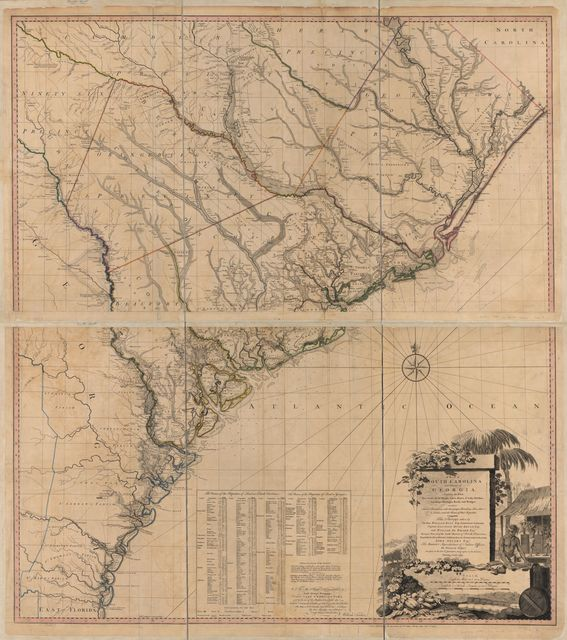 A map of South Carolina and a part of Georgia. Containing the whole sea-coast; all the islands, inlets, rivers, creeks, parishes, townships, boroughs, roads, and bridges: As also, several plantations, with their proper boundary-lines, their names, and the names of their proprietors.