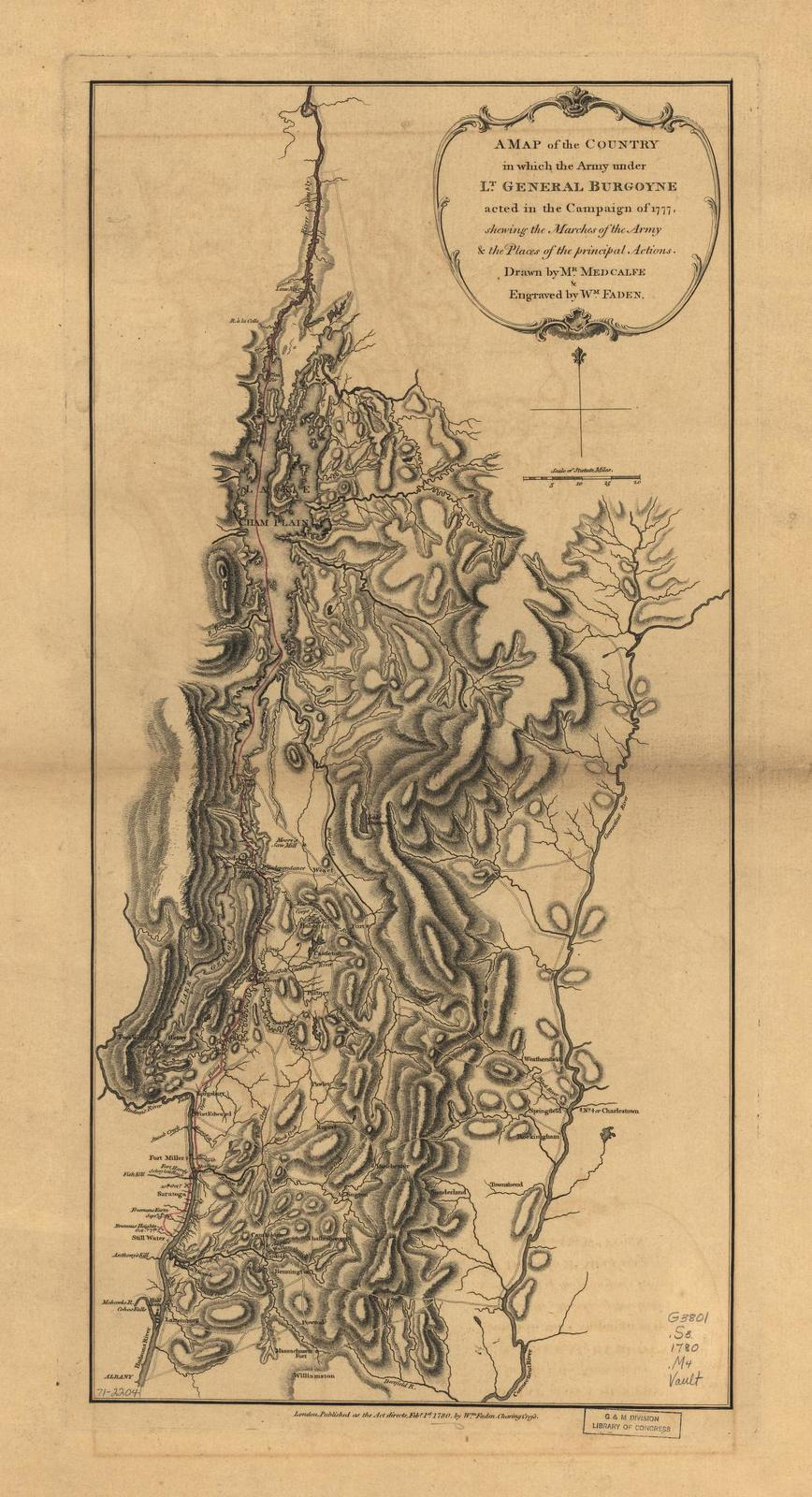 A map of the country in which the army under Lt. General Burgoyne acted in the campaign of 1777, shewing the marches of the army & the places of the principal actions.