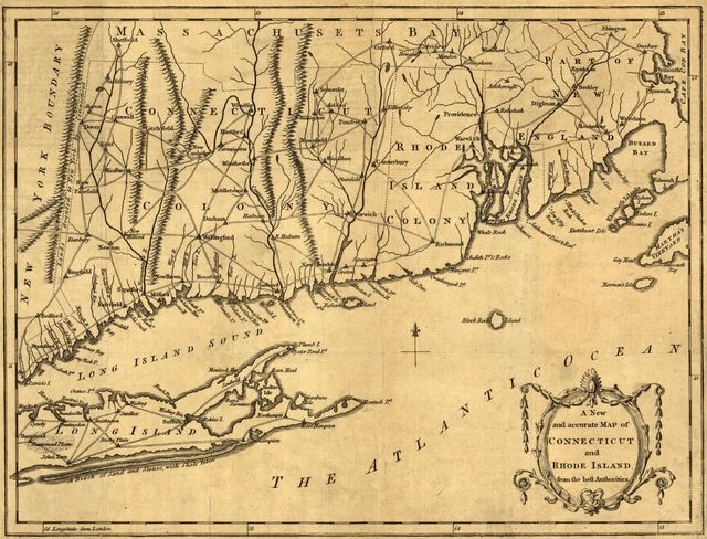 A new and accurate map of Connecticut and Rhode Island, from best authorities.