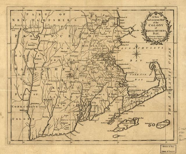 A new and accurate map of the colony of Massachusets [i.e. Massachusetts] Bay, in North America, from a late survey.