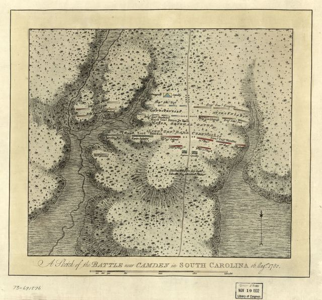 A sketch of the battle near Camden in South Carolina, 16 Augst. 1780.