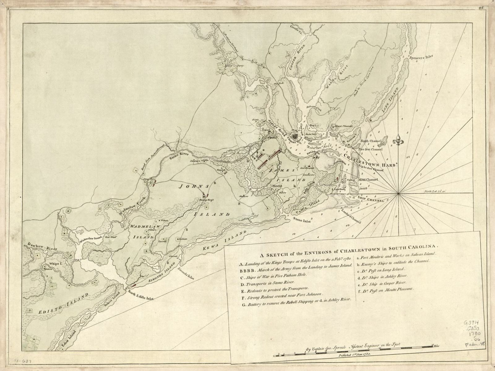 A sketch of the environs of Charlestown in South Carolina.