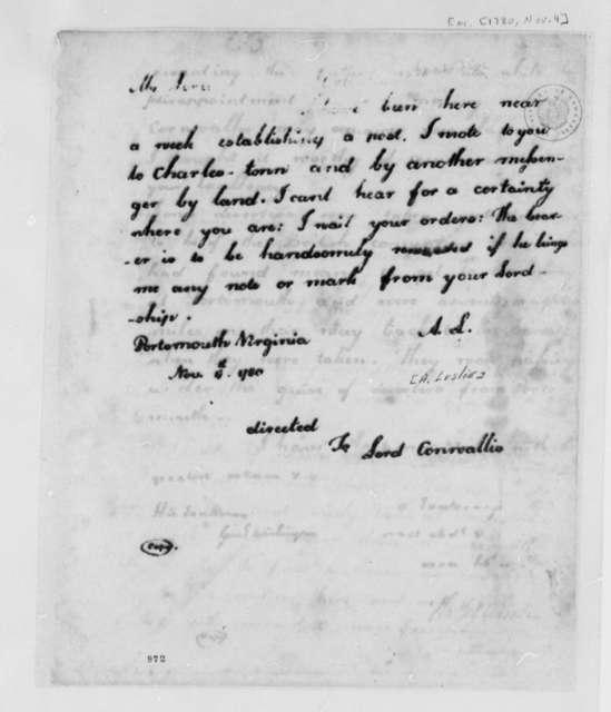 Alexander Leslie to Earl Charles Cornwallis, November 4, 1780