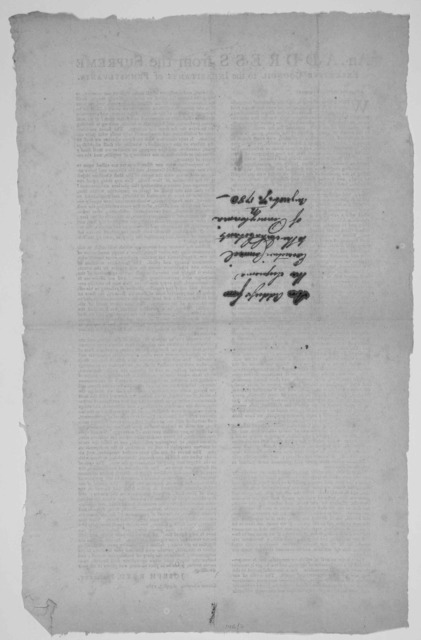 An address from the Supreme Executive Council to the inhabitants of Pennsylvania. Friends and countrymen! When first we resolved to resist the tyrannical encroachments of Britain, and rather to meet her in the field as anenemy, than submit to he