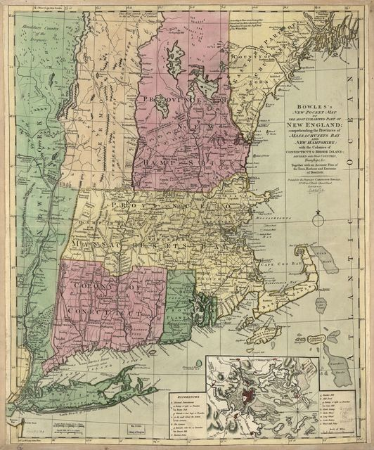 Bowles's new pocket map of the most inhabited part of New England; comprehending the provinces of Massachusets Bay and New Hampshire; with the colonies of Connecticut & Rhode Island; divided into their counties, townships, &c. together with an accurate plan of the town, harbour and environs of Boston.