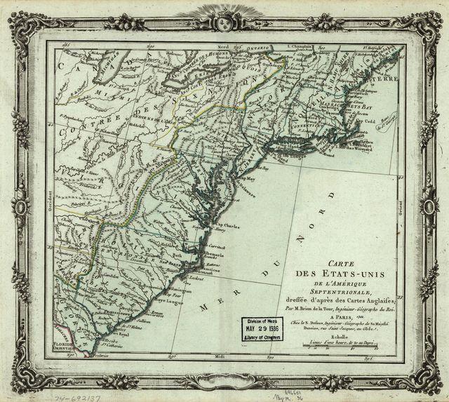 Carte des États-Unis de l'Amérique septentrionale, dressée d'après des cartes anglaises.