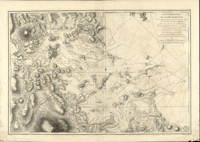 Carte particulière du havre de Boston avec les sondes les bancs de Sable, les rochers les Amaies et les autres directions utiles à la navigation.