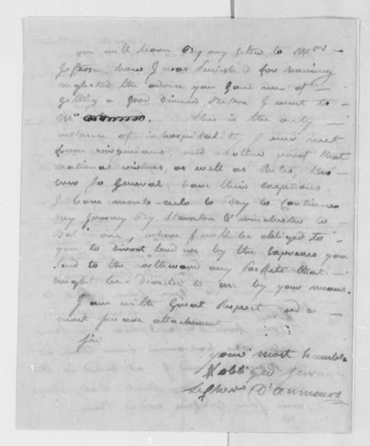 Charles, Chevalier d'Annemours to Thomas Jefferson, October 25, 1780