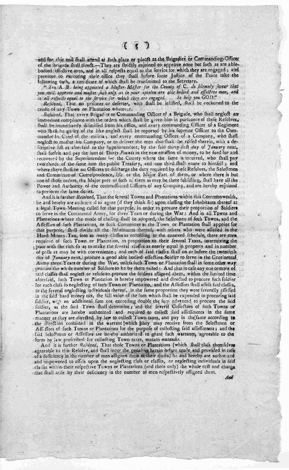 Commonwealth of Massachusetts. In the House of representatives, December 2, 1780. Whereas the Congress of the United States have required of this Commonwealth to supply the deficiency of our proportion of the Continental army ... [Boston: Printe