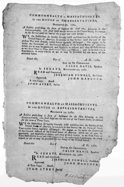 Commonwealth of Massachusetts. In the House of representatives. November 27, 1780. A resolve prescribing the form of inlistment for those men belonging to this Commonwealth, who shall inlist into the service of the United States ... [Boston: Pri
