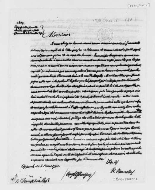 Count de Bernstorff to Benjamin Franklin, March 8, 1780