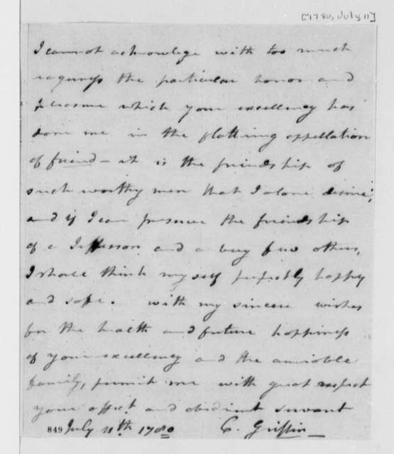 Cyrus Griffin to Thomas Jefferson, July 11, 1780