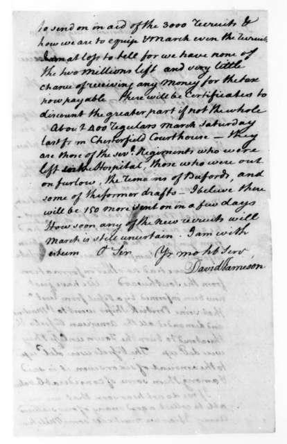 David Jameson to James Madison, August 30, 1780.
