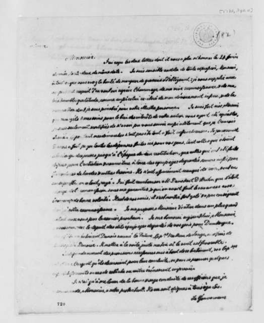 de Chezaulx to Benjamin Franklin, April 11, 1780, in French