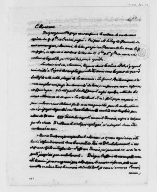 de Chezaulx to Benjamin Franklin, January 4, 1780, in French