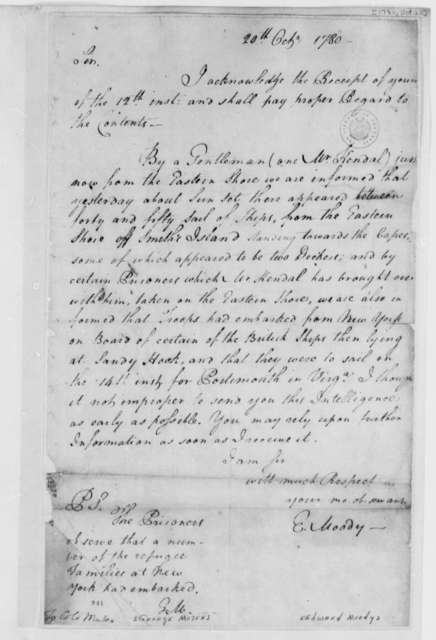 Edward Moody to George Muter, October 20, 1780